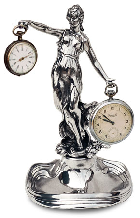 Pocket watch stand - lady, grey, Pewter / Britannia Metal, cm 19