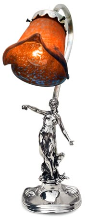 Lamp - woman with ornament cm 36 (Pewter / Britannia Metal) - collection: Donna. Cosi Tabellini.