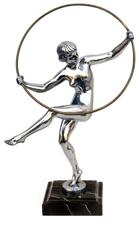Statuette - gymnast with hoop cm h 26 (Pewter / Britannia Metal) - collection: Donna. Cosi Tabellini.