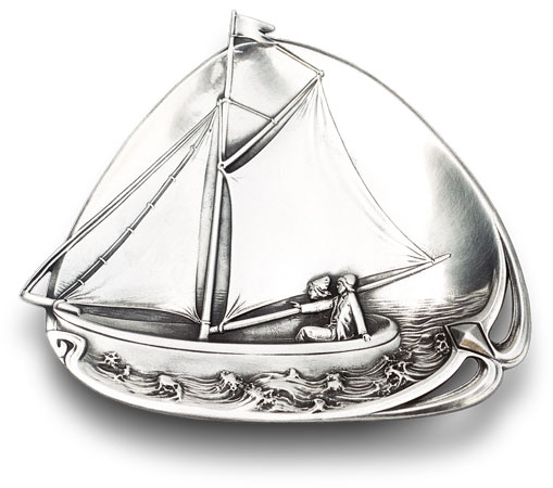 Pocket change tray - boat cm 20,5 x 18 (Pewter / Britannia Metal) - collection: Barca. Cosi Tabellini.