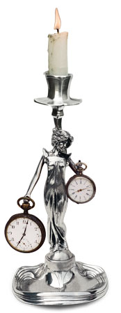 Candlestick / pocket watch stand - lady cm h 25 (Pewter / Britannia Metal) - collection: Donna. Cosi Tabellini.