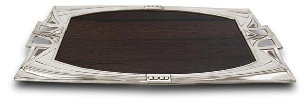 Tray cm 38 x 22 (Pewter / Britannia Metal, Wood) - collection: Secession. Cosi Tabellini.