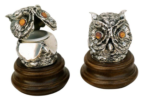 Inkstand - owl cm 7,5x8 (Pewter / Britannia Metal, Wood) - collection: Gufo. Cosi Tabellini.