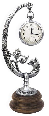 Pocket watch stand - peacock cm 21 (Pewter / Britannia Metal, Wood) - collection: Pavone. Cosi Tabellini.