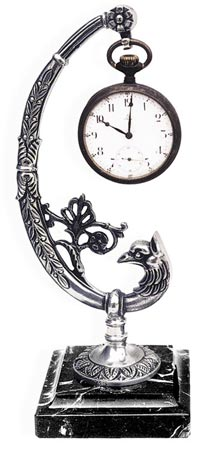 Pocket watch stand - peacock cm 20 (Pewter / Britannia Metal) - collection: Pavone. Cosi Tabellini.
