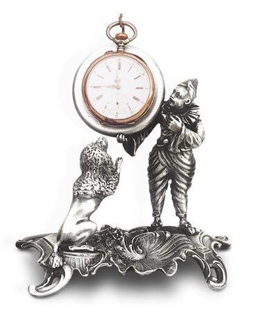 Pocket watch stand - dog and clown cm 12x12 (Pewter / Britannia Metal) - collection: Cane. Cosi Tabellini.