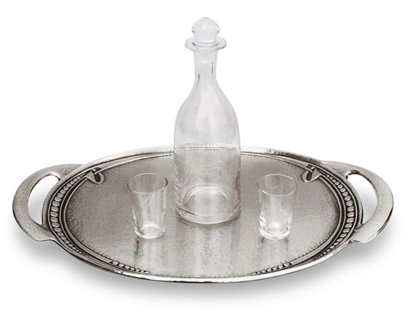 Oval tray cm 25x35,5 (Pewter / Britannia Metal) - collection: Celtic. Cosi Tabellini.