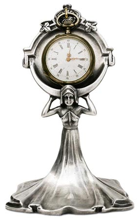 Pocket watch stand - lady cm 12 (Pewter / Britannia Metal) - collection: Donna. Cosi Tabellini.