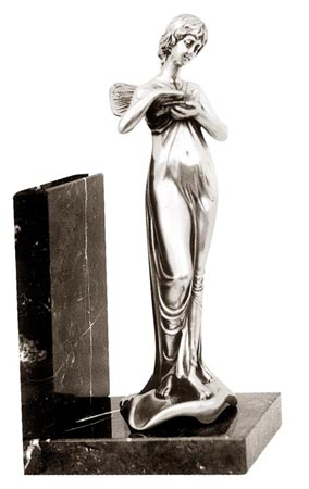 Bookend - woman with bird cm 11,5 x 8 x 23 right (Pewter / Britannia Metal, Marble) - collection: Donna. Cosi Tabellini.