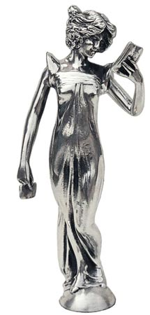 Statuette - woman with letter cm h 16 (Pewter / Britannia Metal) - collection: Donna. Cosi Tabellini.