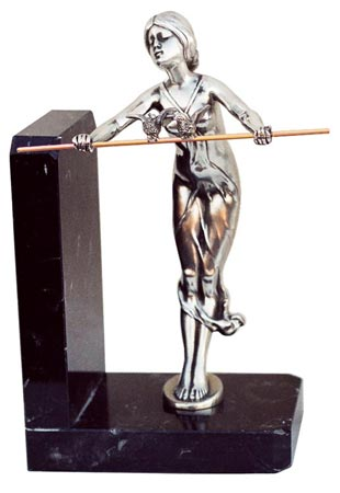 Bookend - lady with rod cm 11,5 x 8 x 19,5 right (Pewter / Britannia Metal, Marble) - collection: Donna. Cosi Tabellini.