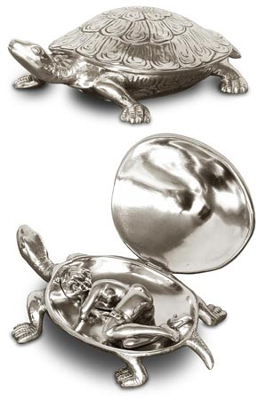 Lidded box - turtle cm 13,5 x 8,5 (Pewter / Britannia Metal) - collection: Testudo. Cosi Tabellini.