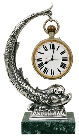 Pocket watch stand - fish, grey and black, Pewter / Britannia Metal and Marble, cm h 19