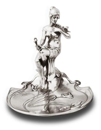 Jewelry holder tray - sitting lady and cyclamens cm 17x17x h 19 right (Pewter / Britannia Metal) - collection: Donna. Cosi Tabellini.