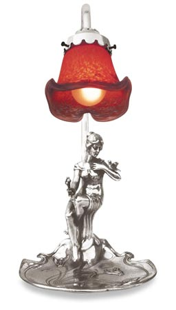 Table lamp - sitting woman holding a bouquet of flowers cm 17x17x h 36 (Pewter / Britannia Metal) - collection: Donna. Cosi Tabellini.