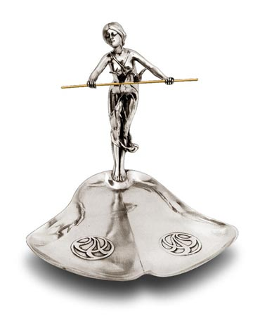 Jewellery stand tray - young girl with two birds - 247 cm 21 x 19 x 18 (Pewter / Britannia Metal) - collection: Donna. Cosi Tabellini.