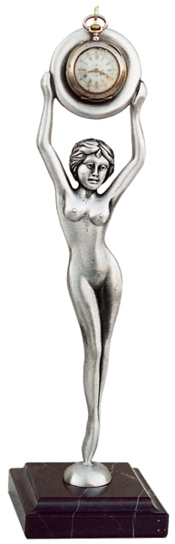 Pocket watch stand - naked lady cm 26 (Pewter / Britannia Metal) - collection: Donna. Cosi Tabellini.