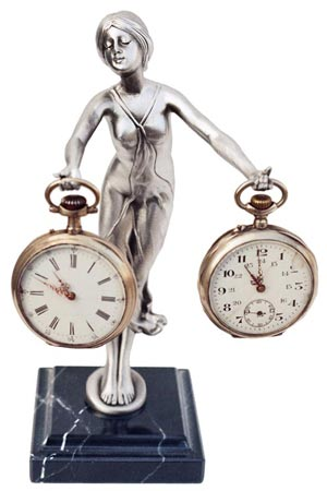 Pocket watch stand - lady cm 19.5 (Pewter / Britannia Metal) - collection: Donna. Cosi Tabellini.