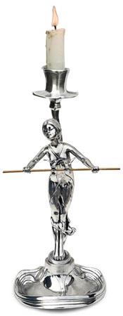 Candlestick - lady with rod cm h 26,5 (Pewter / Britannia Metal) - collection: Donna. Cosi Tabellini.