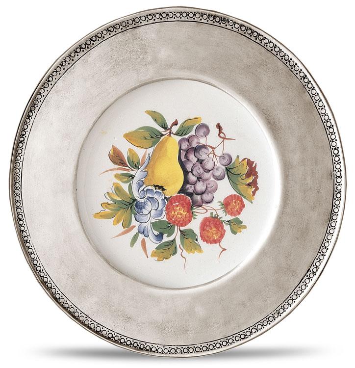 Assiette murale avec c ramique gris et blanc tain et - Assiette murale ...
