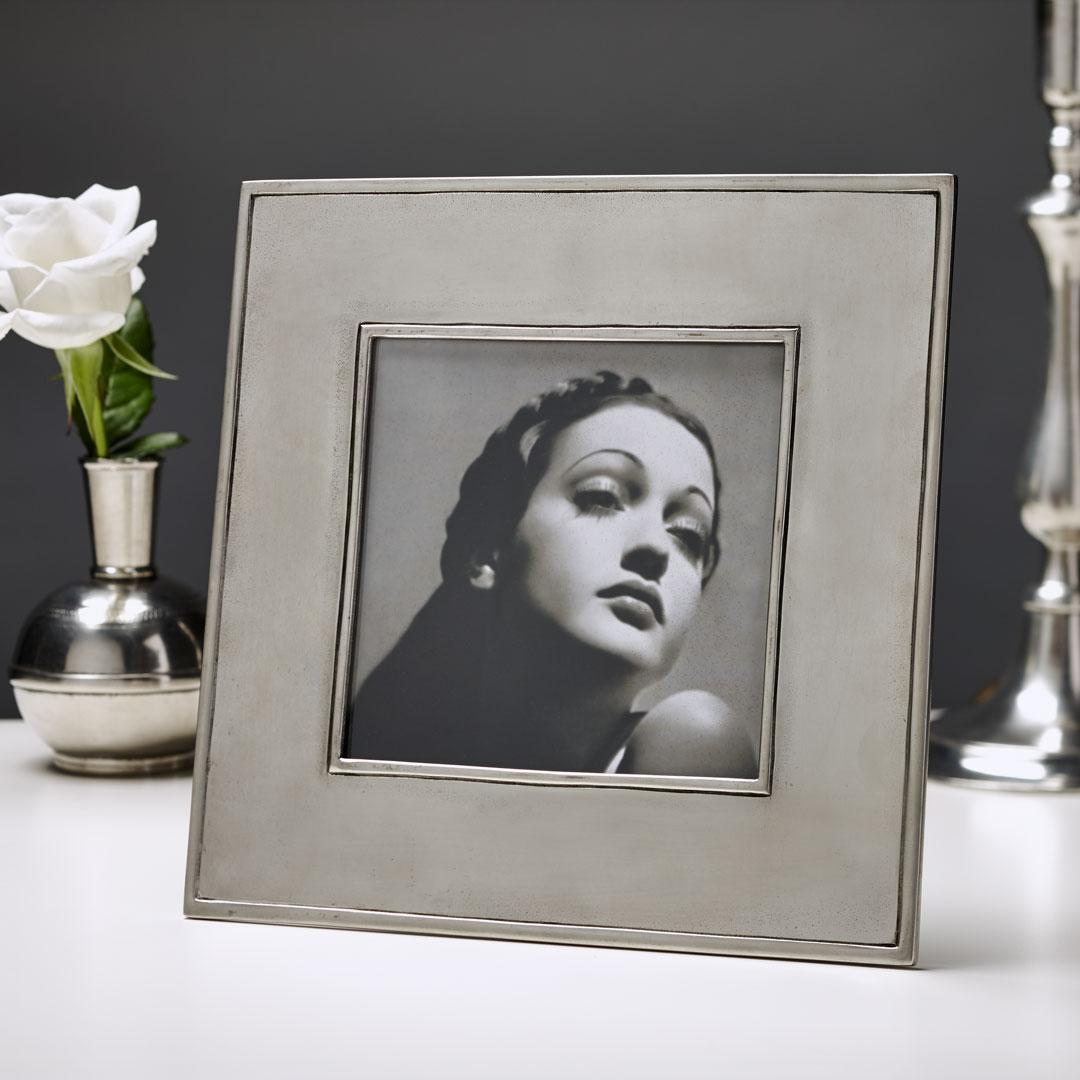 Marco de foto, gris, Estaño y Vidrio, cm 22x22 - photo format 13x13 ...
