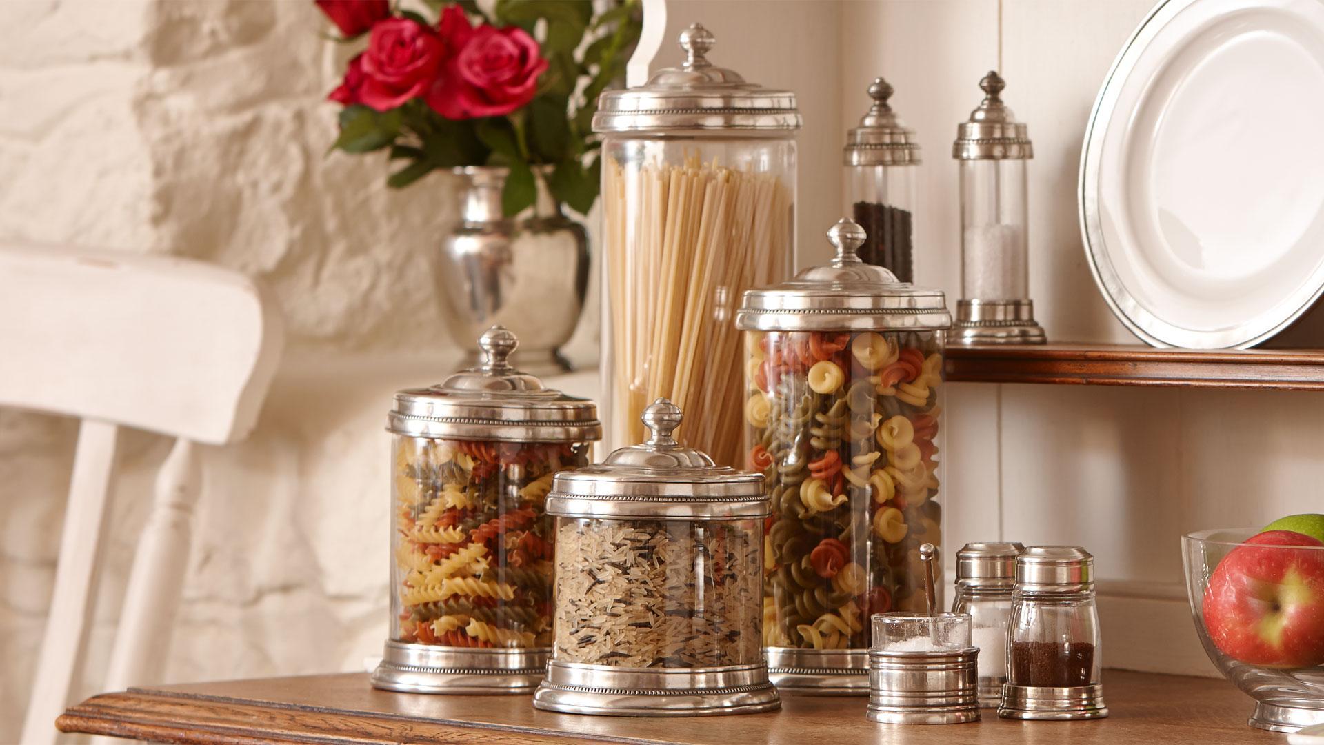 Barattolo cucina grigio metallo peltro e vetro cm 12xh15 5 lt 0 75 by cosi tabellini - Ikea barattoli cucina ...