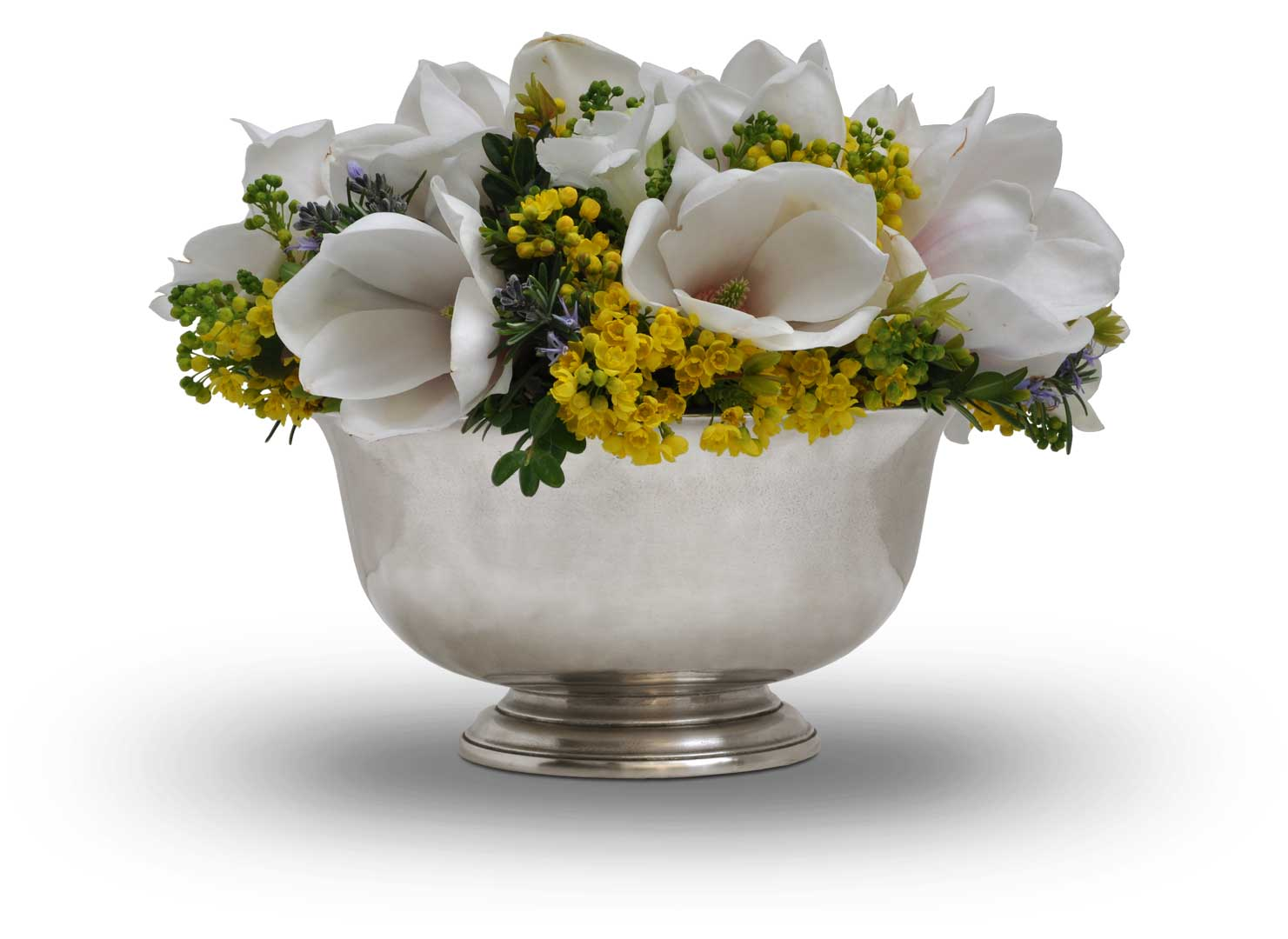Footed Bowl With Insert For Flowers Grey Pewter Cm 216 21 5 H 11 By Cosi Tabellini
