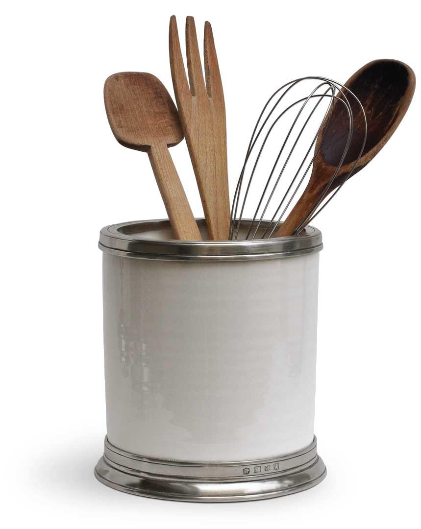 Barattolo portautensili da cucina, grigio e bianco, Metallo (Peltro ...