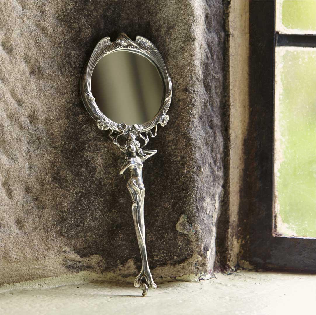 Specchio Da Borsa Stile Liberty Grigio Metallo Peltro